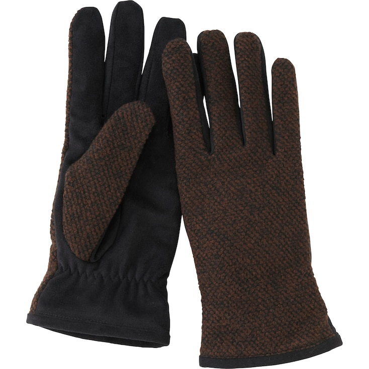 Women Boucle Touch Gloves, Dark Brown, Large