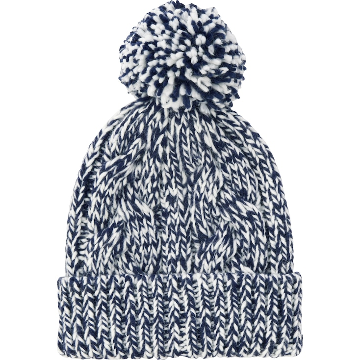 WOMEN LOW GAUGE KNIT BEANIE (CABLE), NAVY, large