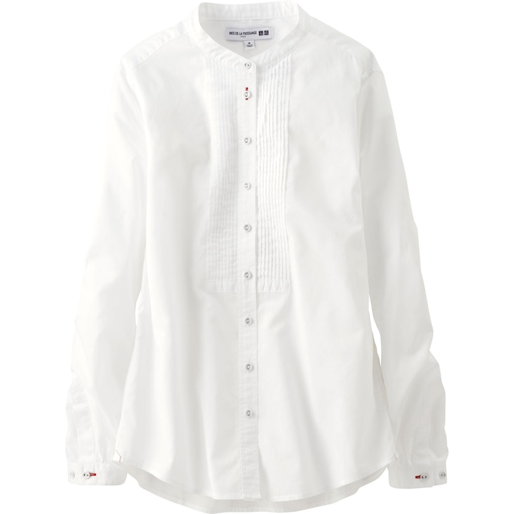 Women Idlf Cotton Lawn Pleated Long Sleeve Shirt, Off White, Large