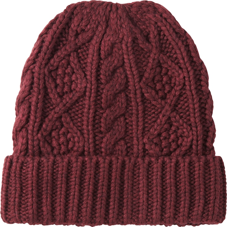 MEN HEATTECH KNITTED CAP, WINE, large