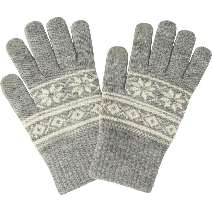 Men Heattech Knit Gloves (Fairisle), Gray, Large