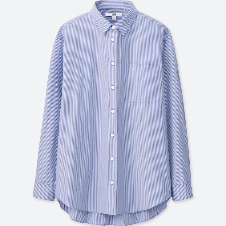 Women Extra Fine Cotton Oversized Striped Long Sleeve Shirt, Blue, Large
