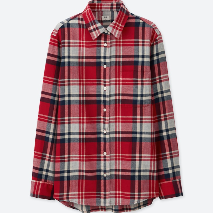 WOMEN FLANNEL CHECK LONG SLEEVE SHIRT, RED, large
