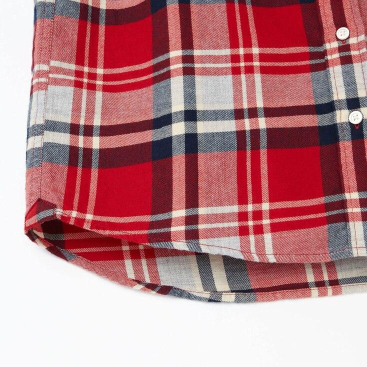 Women Flannel Check Long Sleeve Shirt, Black, Large