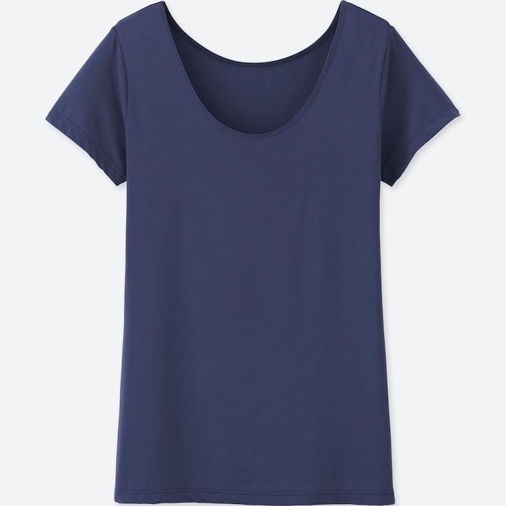 Women Airism Scoop Neck Short-Sleeve T-Shirt, Navy, Large