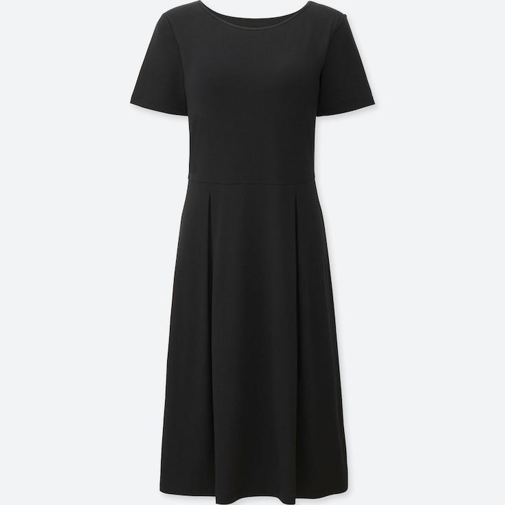WOMEN SHORT SLEEVE BRA DRESS, BLACK, large