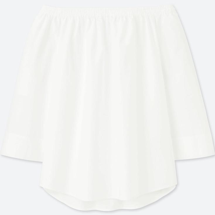 Women Extra Fine Cotton 3/4 Sleeve Off Shoulder Blouse, White, Large