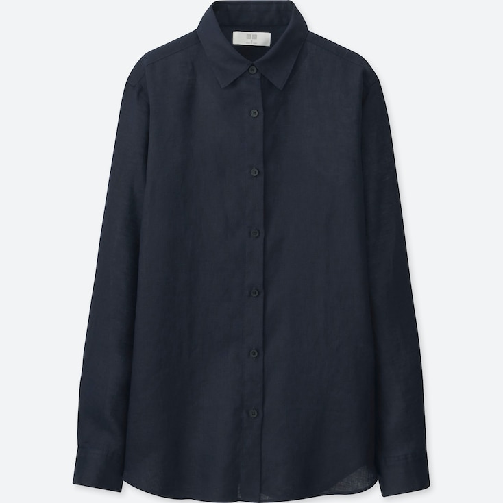Women Premium Linen Long-Sleeve Shirt, Navy, Large