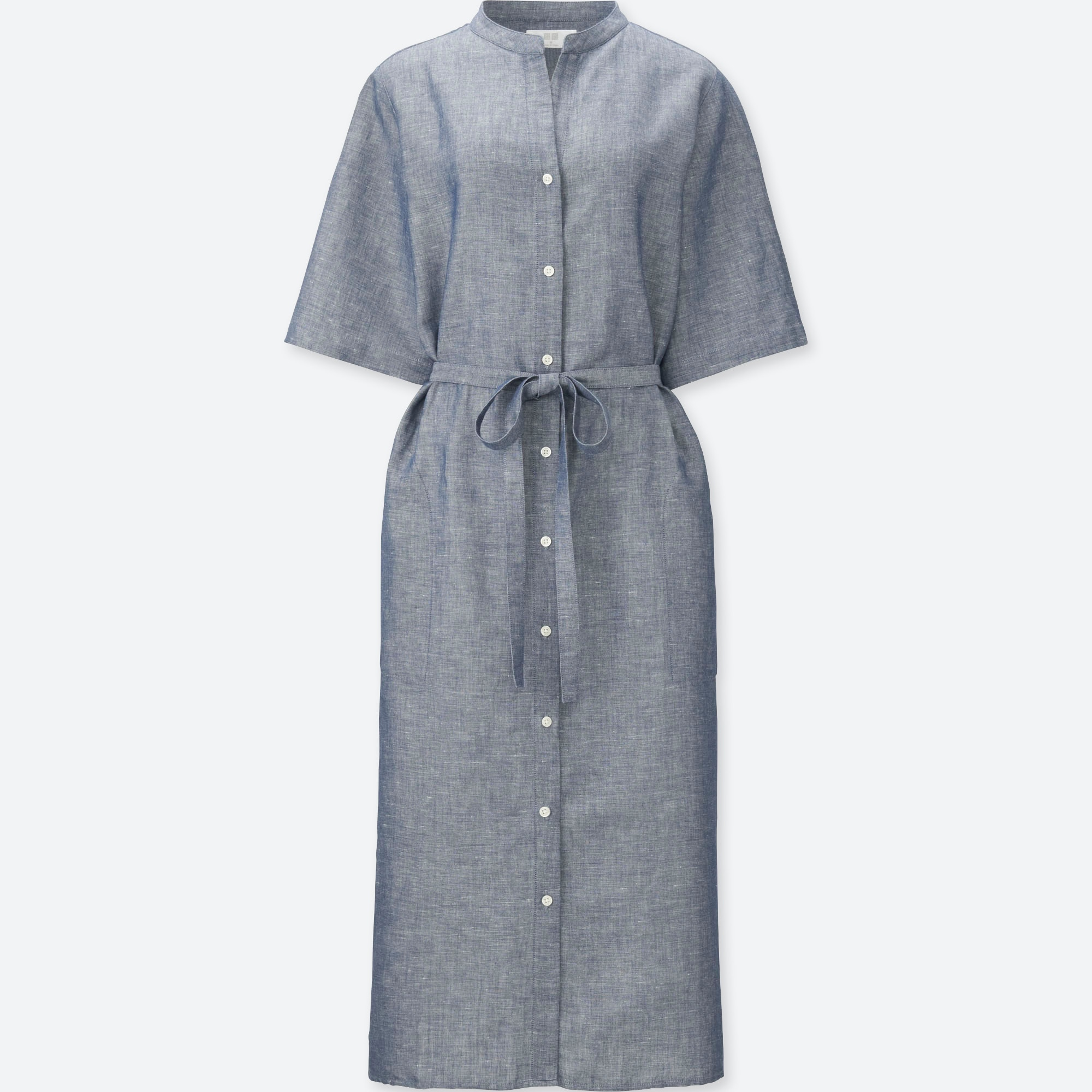 Women Linen Cotton Short Sleeve Shirt Dress Uniqlo Us