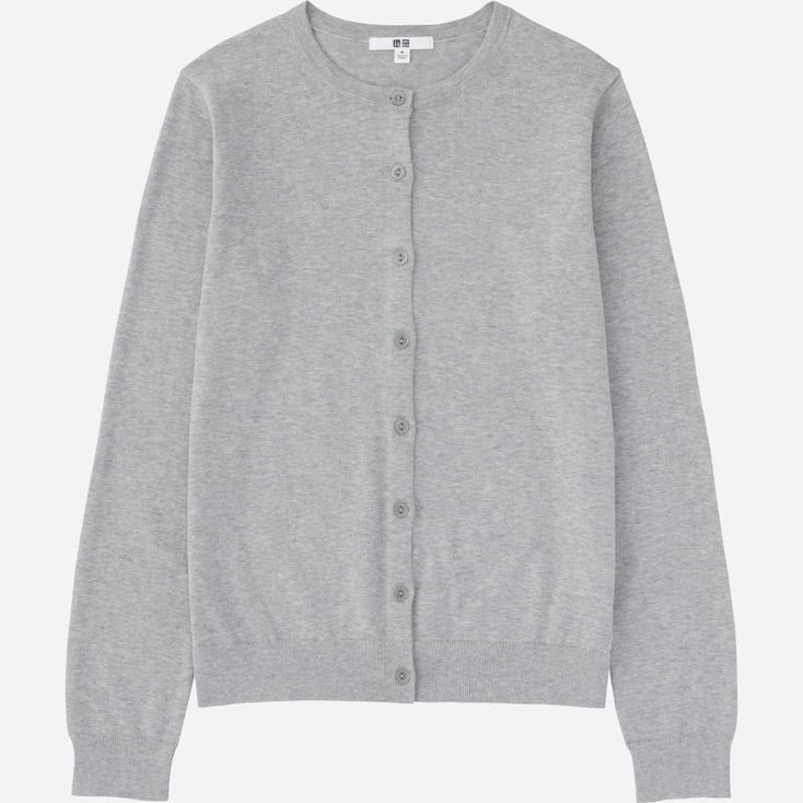 Women Supima® Cotton Crewneck Cardigan, Gray, Large