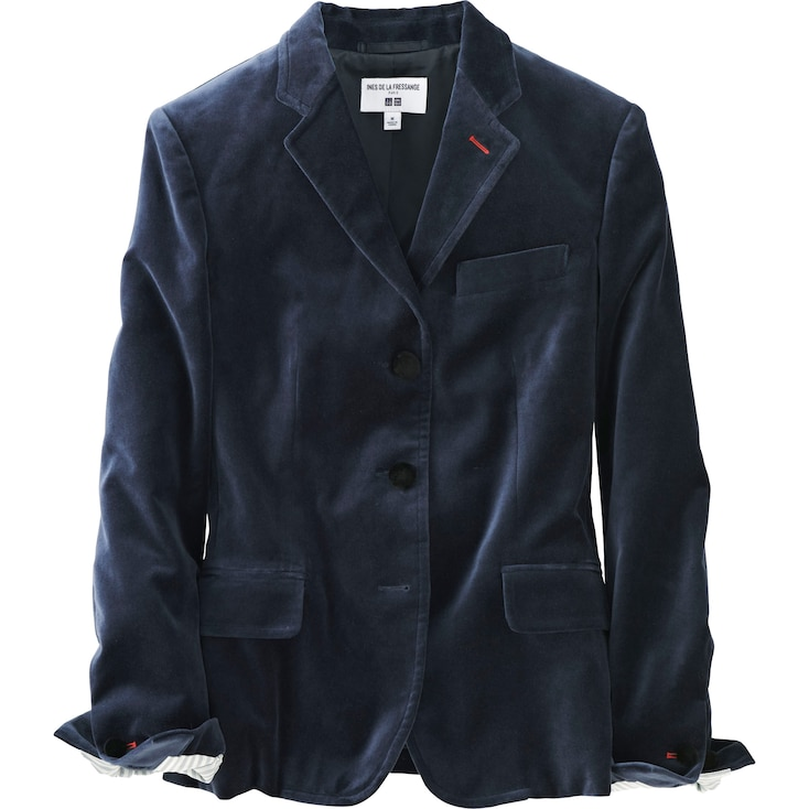 Women Idlf Velvet Jacket, Blue, Large