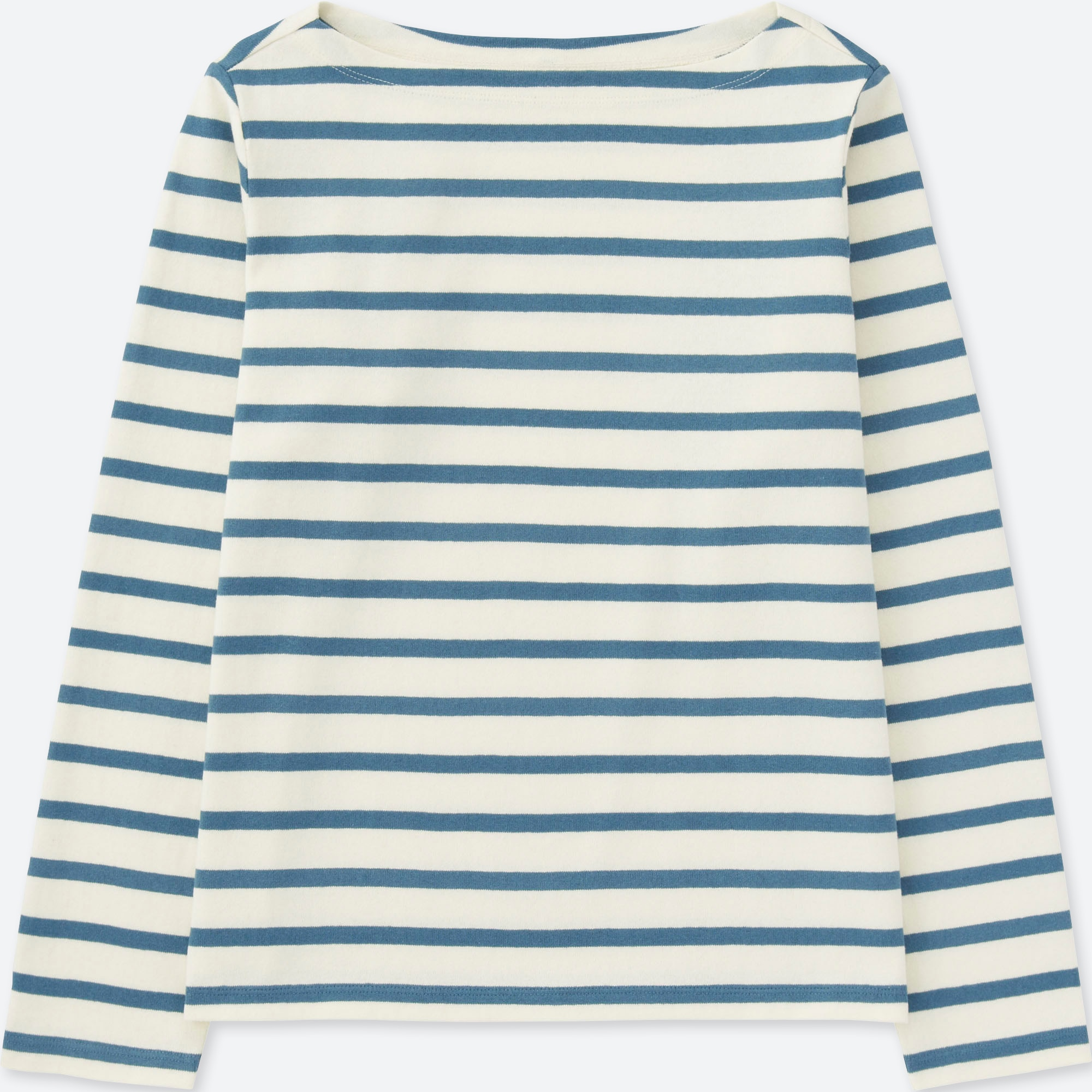 5af7bb5e59 WOMEN STRIPED BOAT NECK LONG SLEEVE T-SHIRT, BLUE, large Opens a New Window.