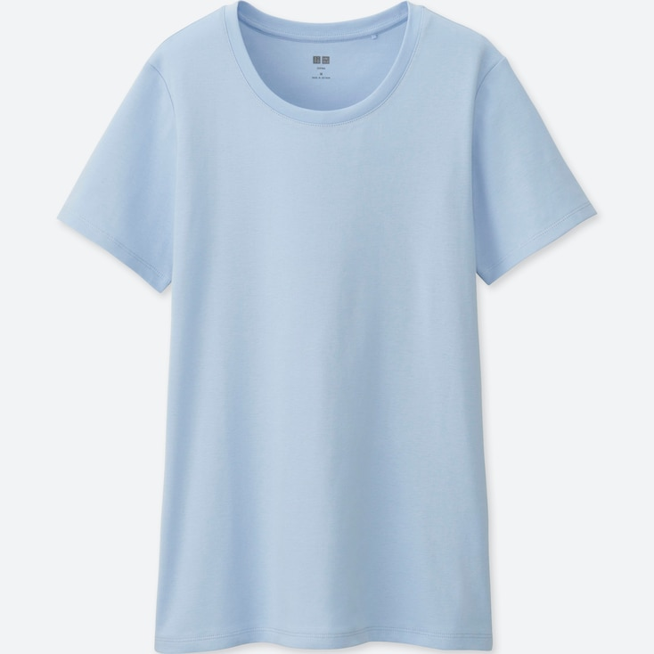 Women Supima® Cotton Crewneck Short-Sleeve T-Shirt, Light Blue, Large