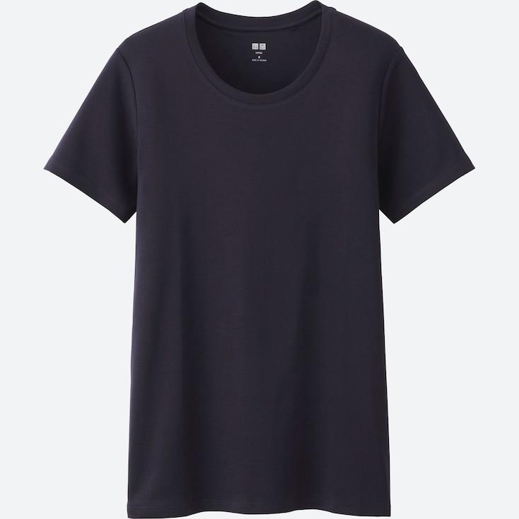 Women Supima® Cotton Crewneck Short-Sleeve T-Shirt, Navy, Large