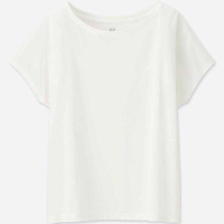 Women Drape Crewneck Short-Sleeve T-Shirt, Off White, Large