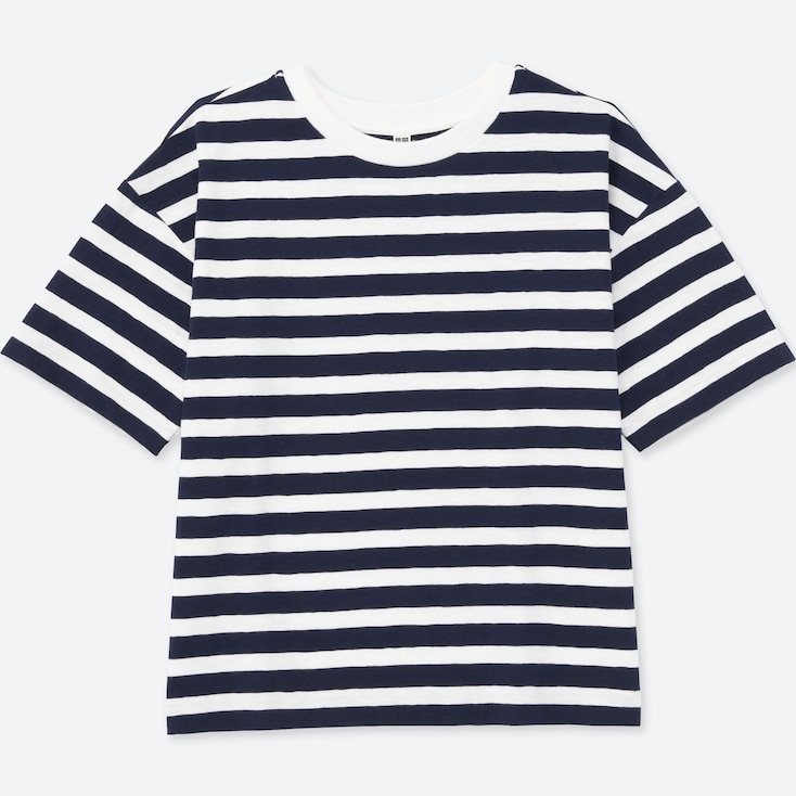 Women Slub Striped Crew Neck Short Sleeve T-Shirt, Navy, Large