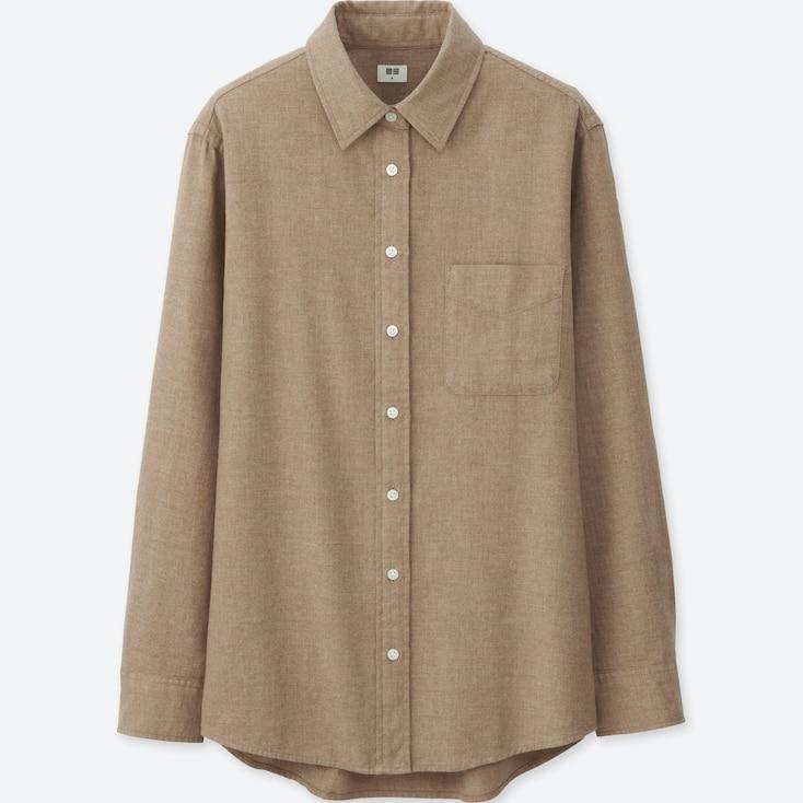 Women Flannel Long Sleeve Shirt, Beige, Large