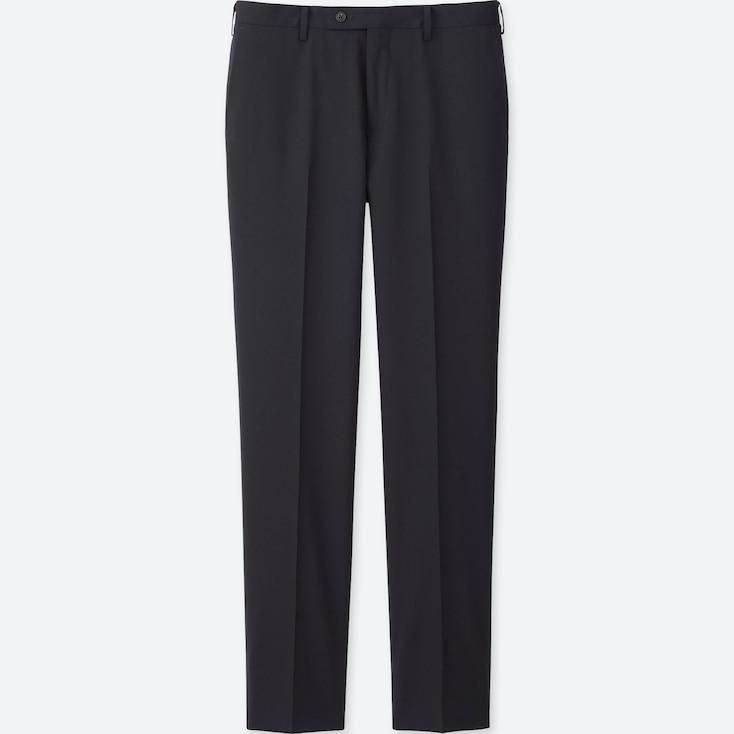 Men Stretch Wool Slim-Fit Flat Front Pants, Navy, Large