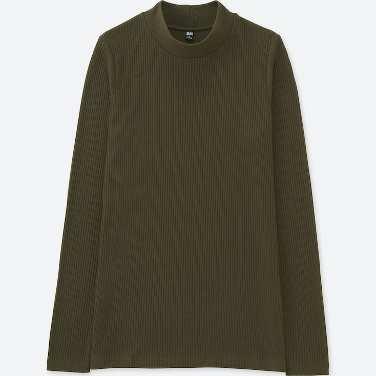 Women Ribbed High Neck Long Sleeve T, Olive, Large