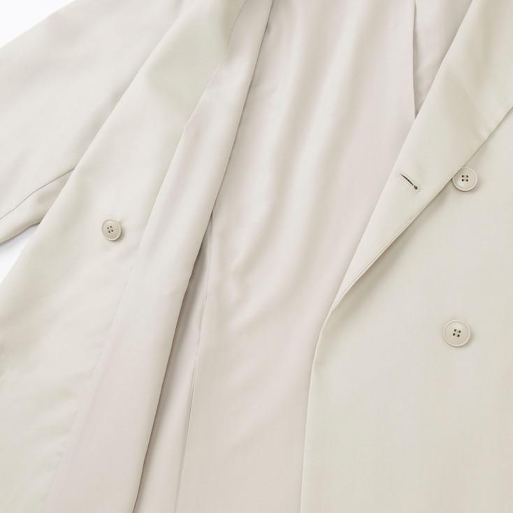 Women Drape Trench Coat, Natural, Large