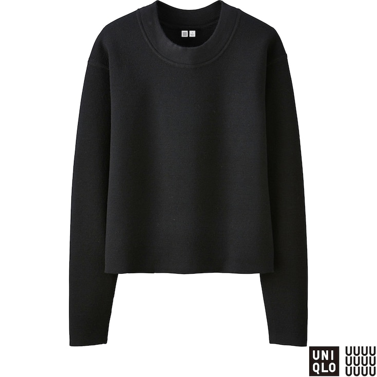 Women U Milano Ribbed Crewneck Sweater, Black, Large