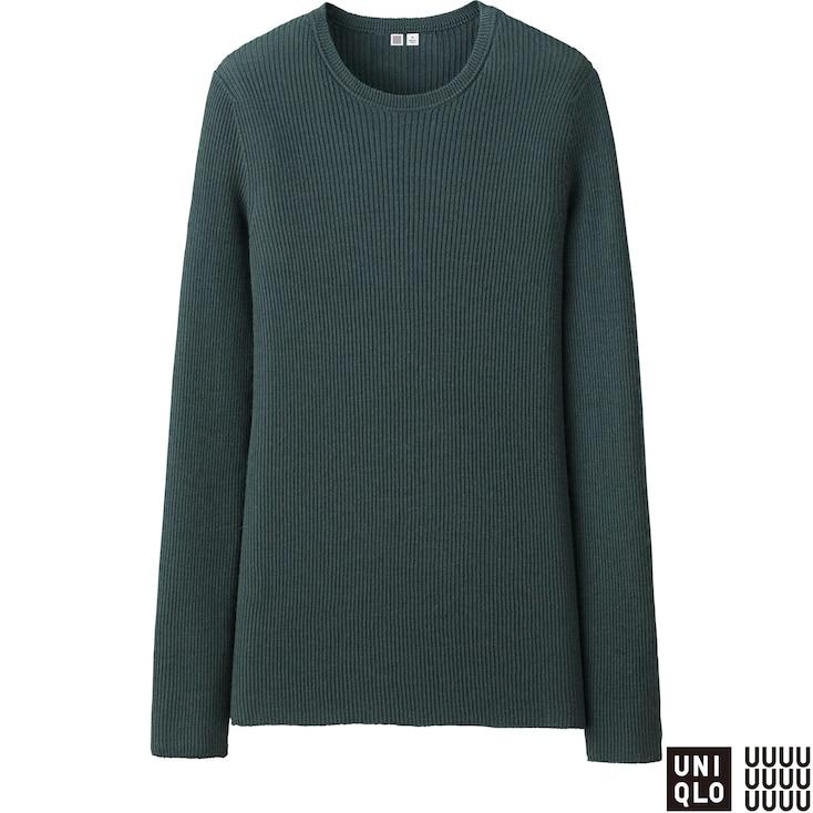 Women U Cashmere Ribbed Crewneck Sweater, Dark Green, Large