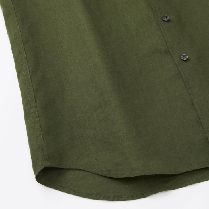 Men Premium Linen Long Sleeve Shirt, Beige, Large