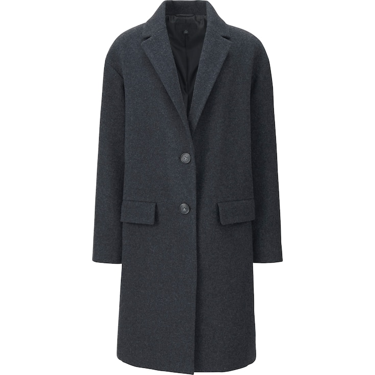 Women Soft Wool Blend Tailored Coat, Dark Gray, Large