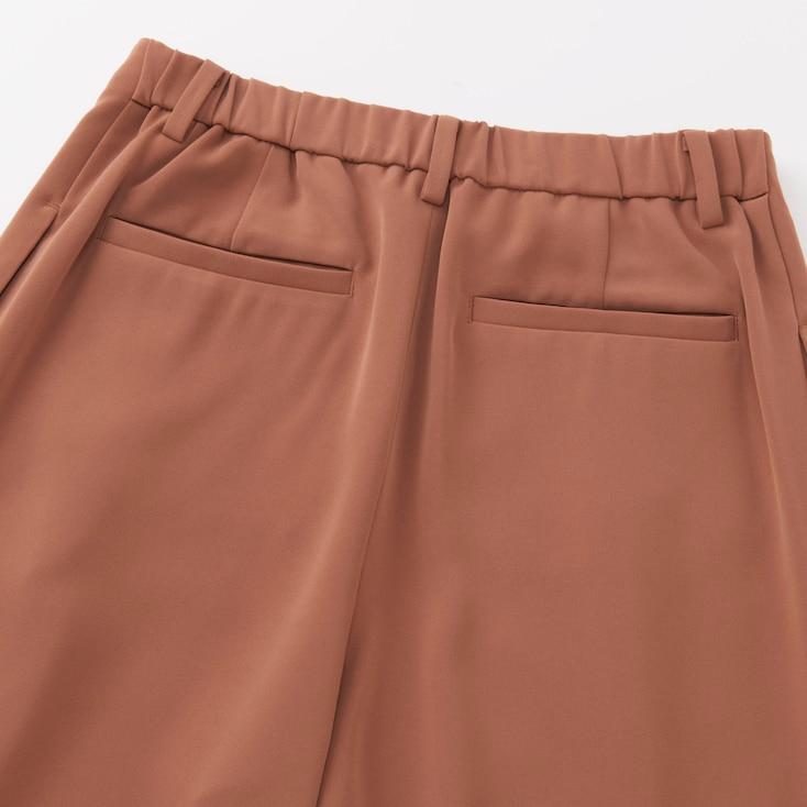 Women Drape Wide Leg Ankle Length Pants, Blue, Large