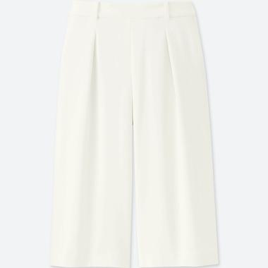 Gaucho trousers in pure light linen with elastic waist-size ML-Women/'s trousersanklesummeroversizenatural fibres