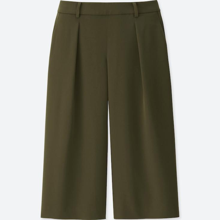 Women Drape Gaucho Pants, Olive, Large
