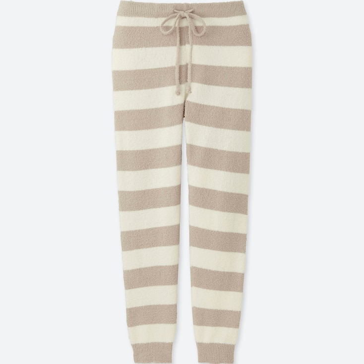 Women Fluffy Yarn Lounge Pants (Stripe), Natural, Large