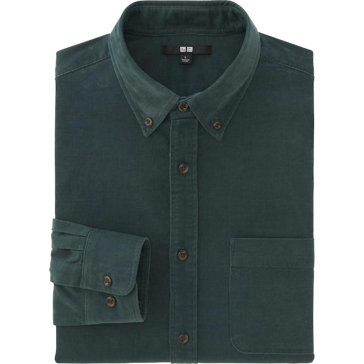 Men Corduroy Long Sleeve Shirt, Olive, Large