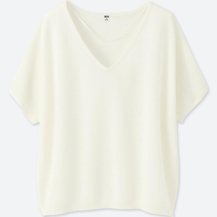 Women Oversized V-Neck Sweater, Off White, Large