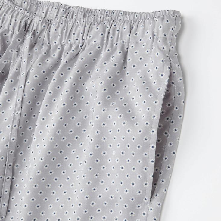 Women Drape Pants (Flower Dot), Navy, Large