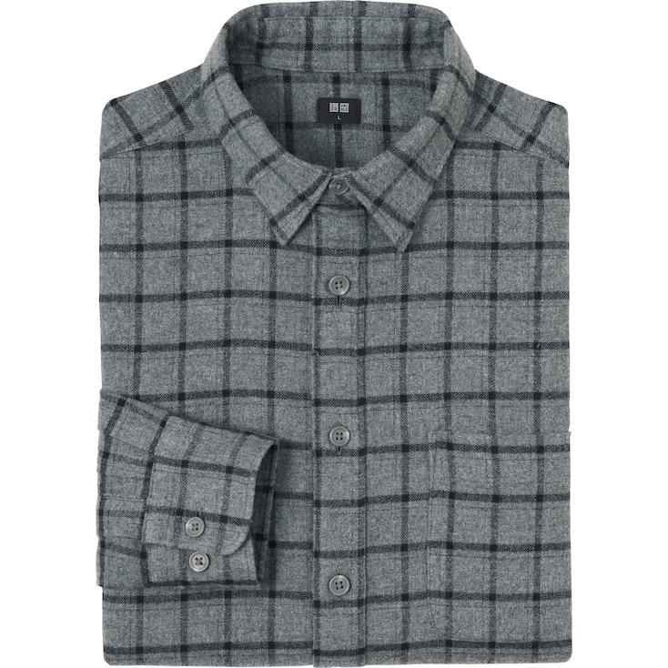 Men Flannel Check Long Sleeve Shirt, Dark Gray, Large