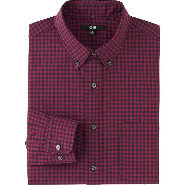 Men Extra Fine Cotton Broadcloth Checked Long Sleeve Shirt, Red, Large