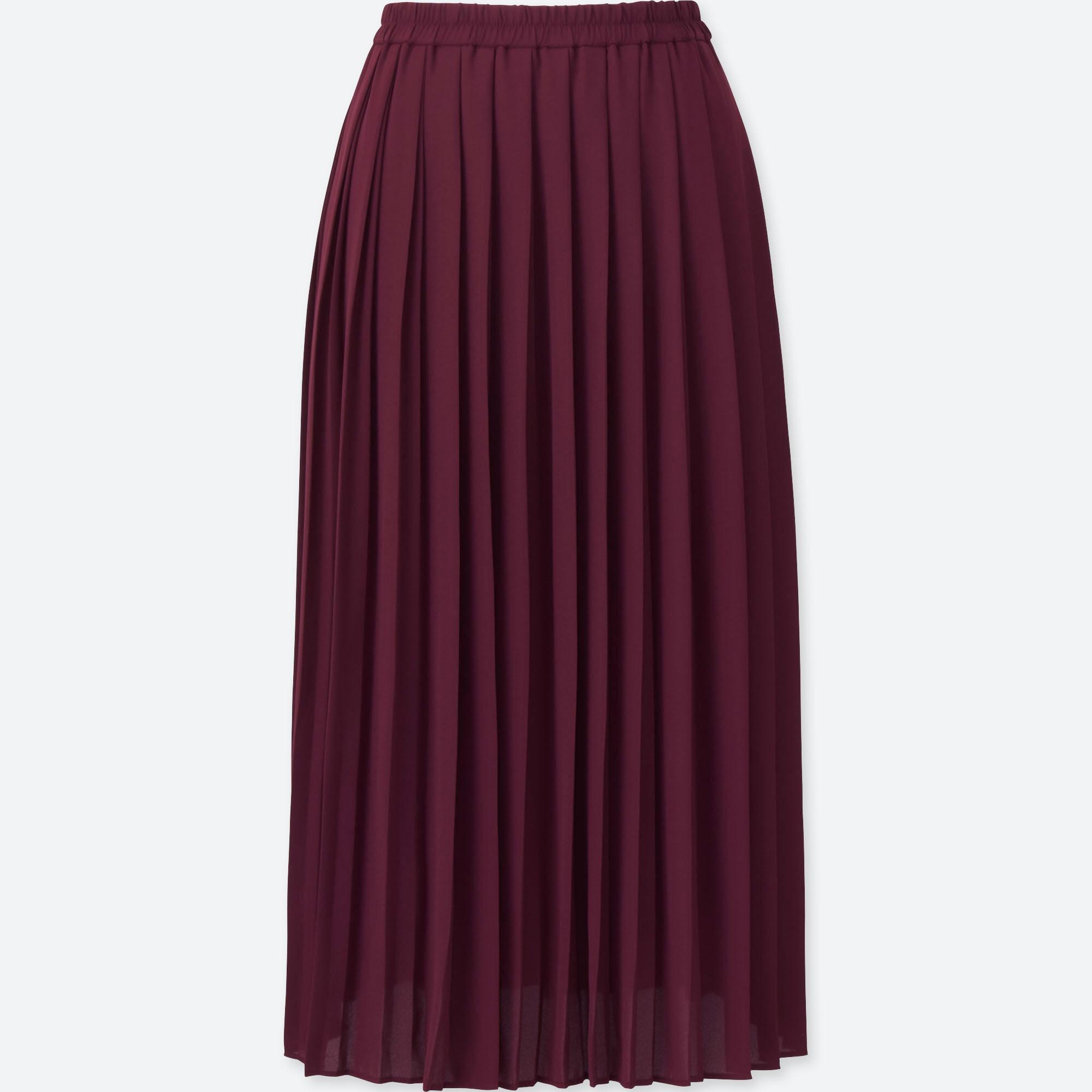 Women High Waist Chiffon Pleated Midi Skirt Uniqlo Us