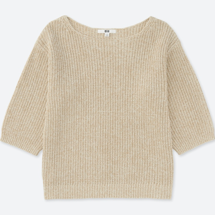 Women Oversized Wide Sleeve Sweater, Natural, Large