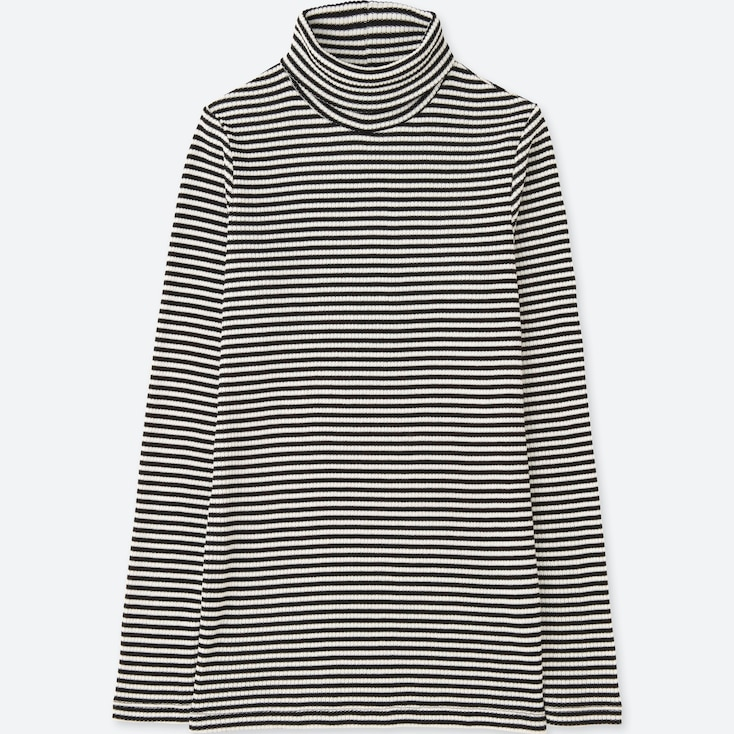 Women Ribbed Striped Turtleneck Long Sleeve T, Off White, Large