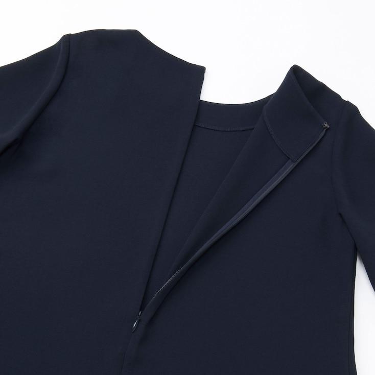 Women Crepe Short-Sleeve Dress, Blue, Large