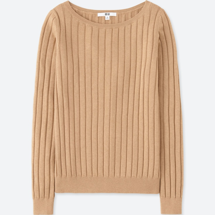 WOMEN COTTON CASHMERE WIDE RIBBED SWEATER, BEIGE, large