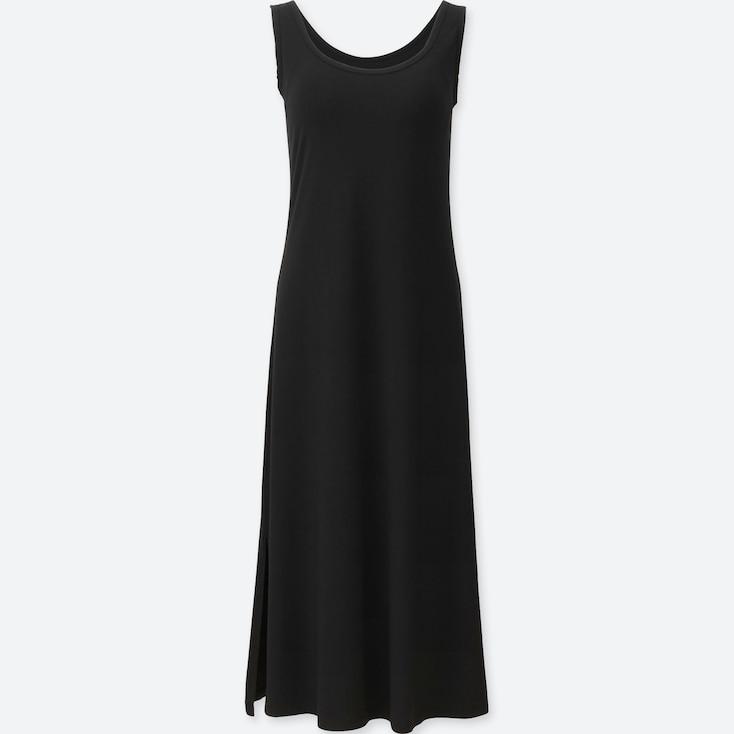 Women Sleeveless Long Bra Dress, Black, Large