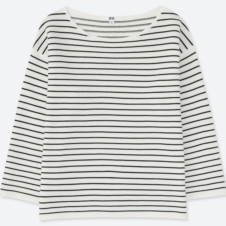 Women Ripple Striped Crewneck Sweater, Off White, Large