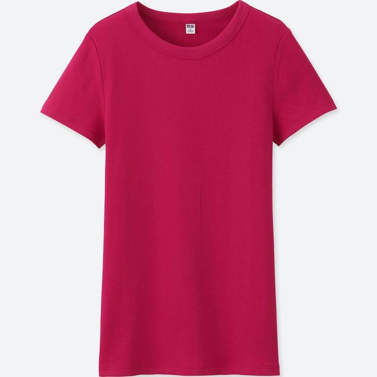 Women Supima® Cotton Ribbed Crew Neck Short Sleeve T-Shirt, Pink, Large