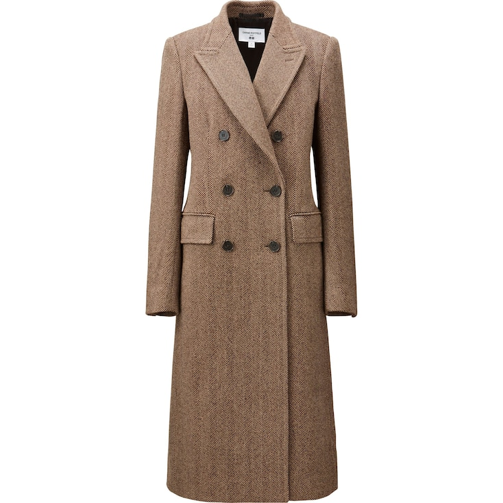 Women Carine Tweed Coat, Brown, Large
