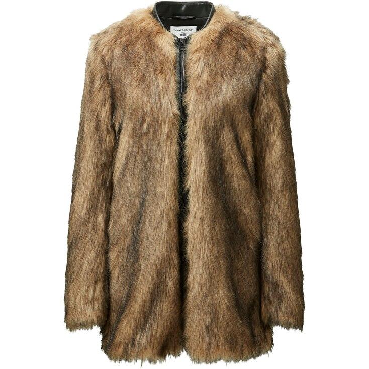 Women Carine Faux Fur Coat, Brown, Large