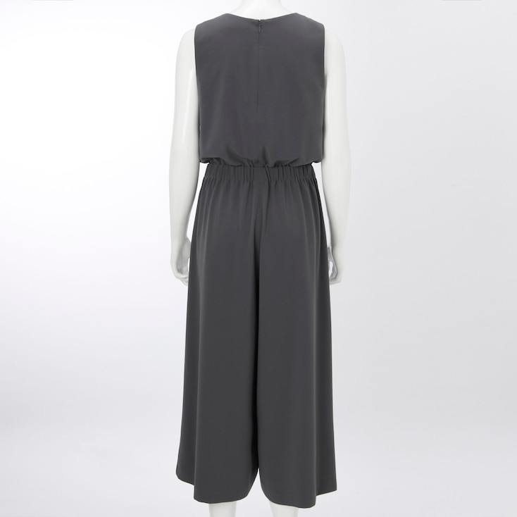 Women V-Neck Jumpsuit, Dark Gray, Large