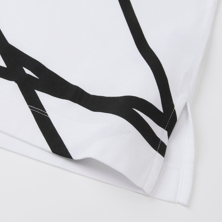 Women Sprz Ny Super Geometric Graphic T-Shirt (Francois Morellet), White, Large