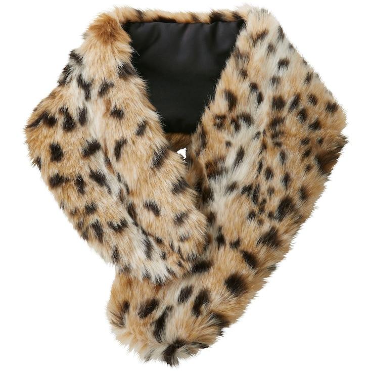 Women Carine Faux Shearling Scarf (Leopard), Beige, Large